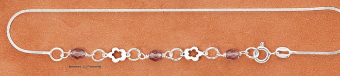 """STERLING SILVER 9-10"""" ANKLET W/ CUTOUT FLOWERS & PURPLE CRYSTALS"""
