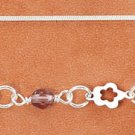 "STERLING SILVER 9-10"" ANKLET W/ CUTOUT FLOWERS & PURPLE CRYSTALS"