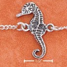 "STERLING SILVER 9"" FIGARO CHAIN ANKLET WITH SEAHORSE"