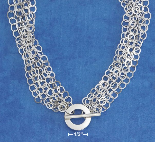 """STERLING SILVER ITALIAN RP 16"""" 6 STRAND FLAT CIRCLE TOGGLE NECKLACE"""