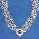 "STERLING SILVER ITALIAN RP 16"" 6 STRAND FLAT CIRCLE TOGGLE NECKLACE"