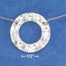 "STERLING SILVER  16""-18""  CABLE NECKLACE W/ 1-1/8"" OPEN HAMMERED DISK"