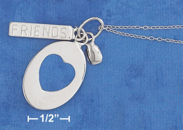 """STERLING SILVER RP 18""""  NECKLACE W/ OVAL HEART CUTOUT TAG & """"FRIENDS"""" BAR"""