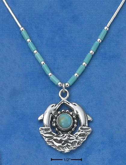 """STERLING SILVER 16"""" LIQUID SILVER NECKLACE W/ ROUND TURQUOISE & DOLPHINS"""