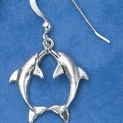 STERLING SILVER KISSING DOLPHIN F W EARRINGS
