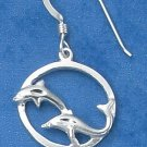 STERLING SILVER DOUBLE DOLPHIN W/IN CIRCLE ON FRENCH WIRE