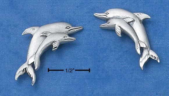 STERLING SILVER  DOUBLE DOLPHIN POST EARRINGS