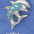STERLING SILVER JUMPING DBL DOLPHINS W/ CZ EYES PENDANT 1 HP DOLPHIN - 1 LAB OPAL