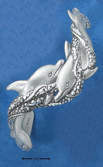 TERLING SILVER SATIN & DC DOUBLE SWIMMING DOLPHIN CUFF BRACELET
