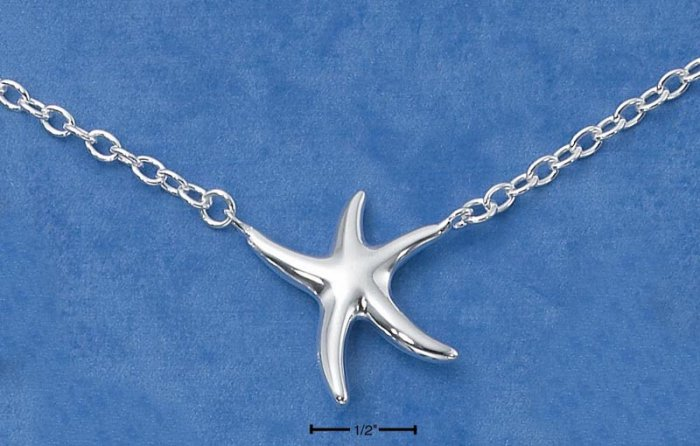 "STERLING SILVER 17"" HP CONTEMPORARY STARFISH ON CABLE CHAIN"