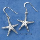 STERLING SILVER DANGLE STARFISH ANTIQUED F W EARRINGS