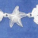 "STERLING SILVER 7.5"" DIAMOND CUT SCALLOP SHELL/ STARFISH & SANDDOLLAR LINK BRACELET"