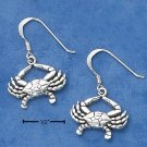 STERLING SILVER CRAB DANGLE FRENCH WIRE EARRINGS