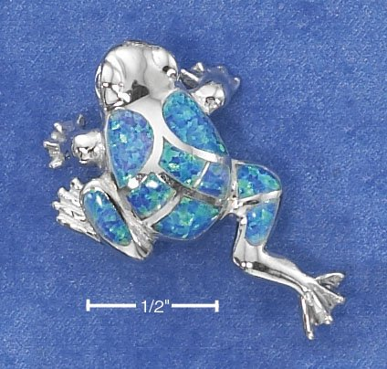 STERLING SILVER LAB OPAL MOSAIC FROG PENDANT / 18 IN CHAIN
