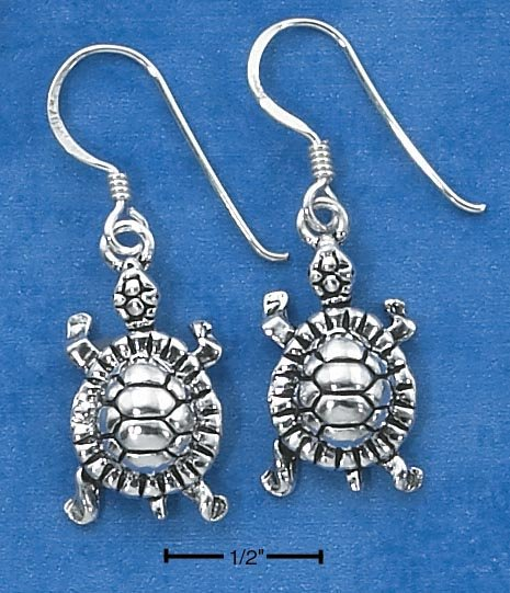 STERLING SILVER TURTLE EARRINGS ON FRENCH WIRES