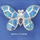 STERLING SILVER BUTTERFLY SLIDE W/ MOSAIC LAB OPAL WINGS & MULTICOLOR CZ BODY