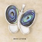STERLING SILVER ABALONE & MOP W/ CZ CHIPS BUTTERFLY PIN/PENDANT