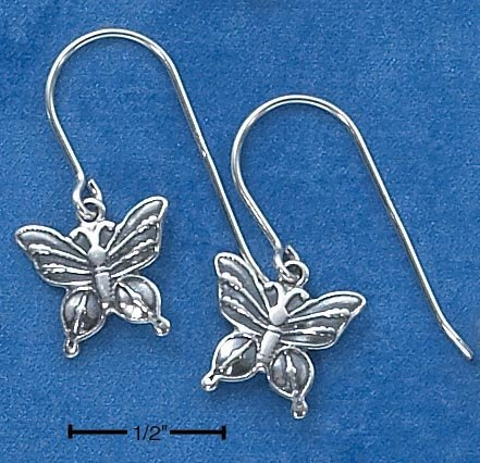 STERLING SILVER SMALL ANTIQUED BUTTERFLY EARRINGS
