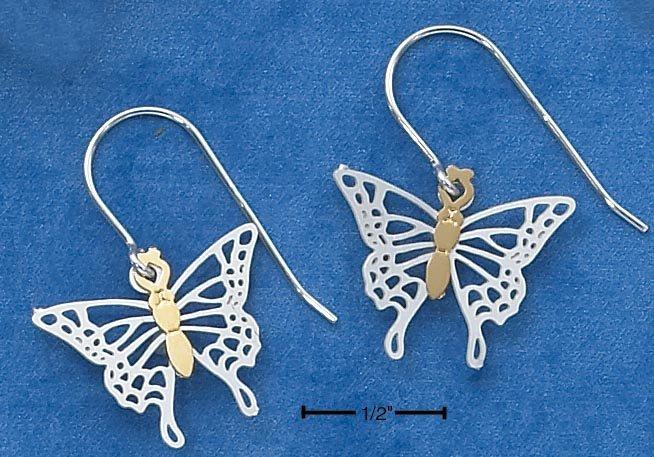 STERLING SILVER /GOLD FLUTTERING BUTTERFLY  EARRINGS
