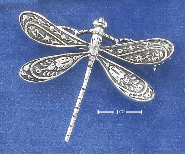 STERLING SILVER ANTIQUED DRAGONFLY PIN