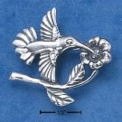 STERLING SILVER HUMMINGBIRD ON FLOWER PIN