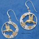 STERLING SILVER /14K GOLD HUMMINGBIRD EARRINGS