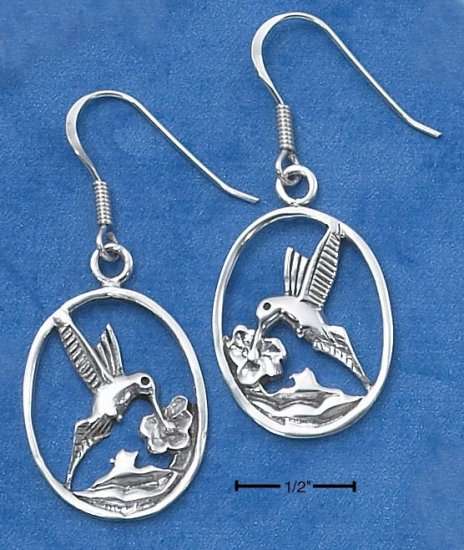 STERLING SILVER HUMMINGBIRD IN OVAL  EARRINGS