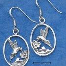 STERLING SILVER HUMMINGBIRD IN OVAL  EARRINGS