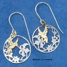 STERLING SILVER 14K GOLD FLUTTERING HUMMINGBIRD  EARRINGS