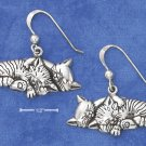 STERLING SILVER ANTIQUED SLEEPING KITTY COUPLE EARRINGS