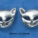 STERLING SILVER CAT FACES WITH OPEN EYES POST EARRINGS