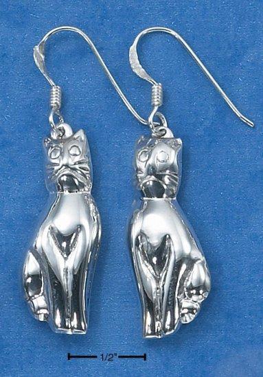 STERLING SILVER ELONGATED PUFFED CAT EARRINGS