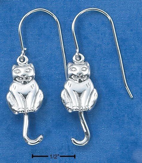 STERLING SILVER CAT W/ SWINGING TAIL  EARRINGS