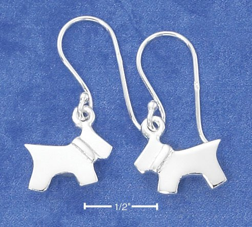 STERLING SILVER HIGH POLISH DOG DANGLE   EARRINGS