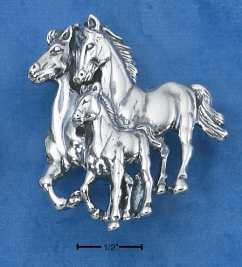 STERLING SILVER MOM & DAD W/ BABY HORSE PIN