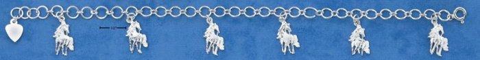 "STERLING SILVER 7"" LIGHTWEIGHT HORSES CHARM BRACELET"