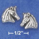 STERLING SILVER ANTIQUED HORSE HEAD POST EARRINGS (NICKEL FREE)