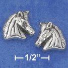 STERLING SILVER ANTIQUED HORSE HEAD POST EARRINGS (NICKEL FREE)