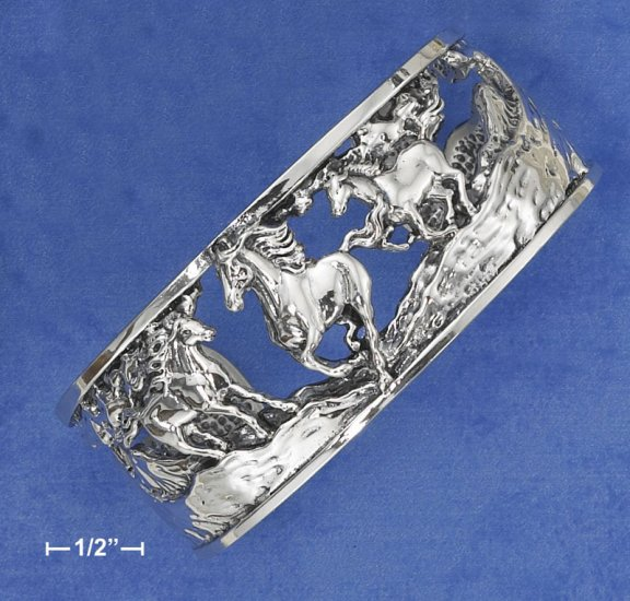 """STERLING SILVER 1"""" CUFF W/ 3 HORSES RUNNING"""