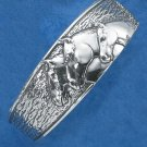STERLING SILVER 22MM CUFF BRACELET W/ THREE HORSEHEADS
