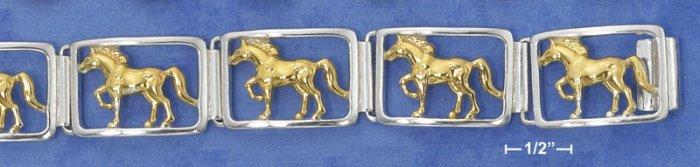 "STERLING SILVER /14K GOLD7"" HEAVY HORSE LINK BRACELET"