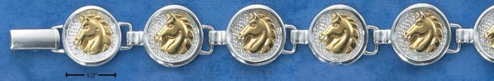 "STERLING SILVER 7"" GOLD VERMEIL HORSEHEAD ROUND MEDALLION LINKS BRACELET"