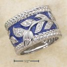STERLING SILVER ENAMEL PERIWINKLE WIDE BAND WITH PAVE CZ FLORAL LEAF PATTERN RING.