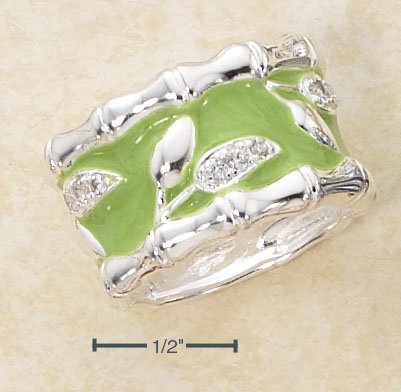LOVELY STERLING SILVER ENAMEL LIGHT GREEN WIDE BAND With BAMBOO EDGE AND PAVE CZ LEAF DESIGN RING.