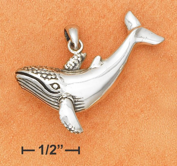 "STERLING SILVER LARGE WHALE CHARM (1.5"")"