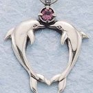 STERLING SILVER KISSING DOLPHINS W/ AMETHYST CHARM