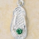 STERLING SILVER MAY CZ BIRTHSTONE FLIP FLOP CHARM