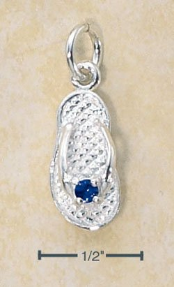 STERLING SILVER SEPTEMBER CZ BIRTHSTONE FLIP FLOP CHARM