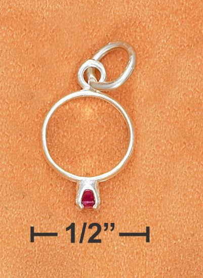 STERLING SILVER BIRTHSTONE RING WITH JULY CZ