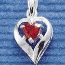 JAN : STERLING SILVER JANUARY CZ HEART CHARM